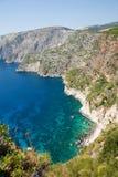 Vista hermosa de la costa costa en Zakynthos Imágenes de archivo libres de regalías