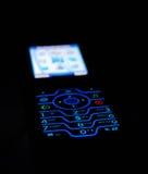 Vista hermosa del teléfono celular en obscuridad Foto de archivo