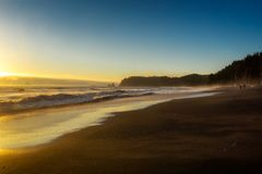 Vista hermosa y escénica de la playa de Rialto, Washington State, los E.E.U.U. Fotos de archivo libres de regalías