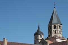 Vista horizontal del campanario de Cluny Abbey Imagen de archivo libre de regalías