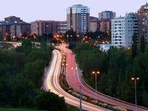 Vista horizontal del tráfico de ciudad Fotos de archivo libres de regalías