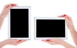 Vista horizontal y vertical de la PC moderna de la tableta con la copia vacía Fotos de archivo