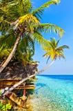 Vista in hotel tropicale Ranveli, Maldive Fotografia Stock