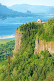 Vista House and Columbia River Gorge. Vertical view of Vista House at Crown Point on the Oregon side of the Columbia River Gorge Stock Photos