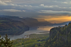 Vista House on Crown Point 4. Sunrise over Vista House on Crown Point Oregon 4 Royalty Free Stock Images