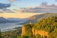 Vista House and the Gorge at sunset Oregon. Stock Images