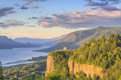 Vista House and the Gorge at sunset Oregon. Royalty Free Stock Photos