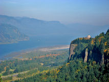 Vista House Lookout Oregon. View of the Vista House located in Corbet Oregon with the columbia river valley in the background Stock Photo