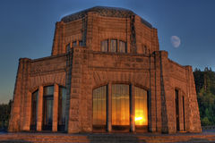 Vista House with Moon Corbet Oregon Royalty Free Stock Photo