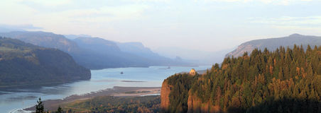 Vista House at sunset in Columbia River Gorge. The Crown Point Vista House was completed in 1918 Stock Photos