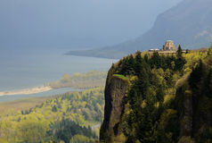 Vista House. Was built in 1917 on one of the most beautiful scenic points on the Historic Columbia River Highway, Crown Point, near Portland Oregon Royalty Free Stock Image