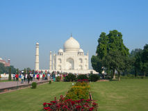 Vista iconica del mausoleo di Taj Mahal Fotografia Stock
