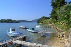 Vista idilliaca della costa, Leucade Fotografia Stock