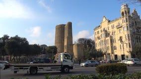 Vista il giorno nubile della torre gennaio Bacu, Azerbaigian video d archivio