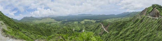 Panorama del campo de Nuku Hiva Foto de archivo