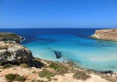vista impressionante dell'isola di Lampedusa immagini stock libere da diritti