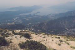 Vista impressionante della baia di Cattaro Fotografie Stock