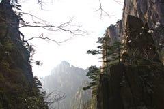 Vista impressionante surpreendente da montanha de Huangshan, Mountaing amarelo A foto de stock