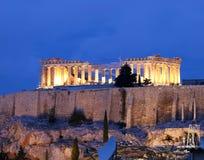 Vista incomun do Parthenon em a noite Fotografia de Stock