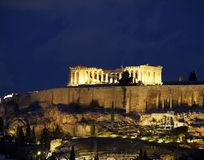 Vista incomun do Parthenon em a noite Foto de Stock Royalty Free