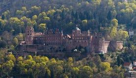 Vista incredibile sul castello medievale di Heidelberg Immagini Stock Libere da Diritti