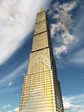 Vista inferior de un rascacielos enorme ilustración del vector
