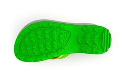vista inferior del deslizador masculino de goma amarillo y verde de la playa (chivato fotos de archivo