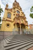 Vista inferior del distrito de Jesus De Nazarene Church Prado en Medell Foto de archivo