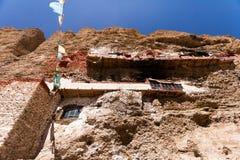 Vista inferior do templo de Gu Pu'er no precipício Imagens de Stock