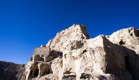 Vista inferior parcial de ruínas de Guge Foto de Stock Royalty Free