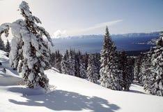Vista innevata di Lake Tahoe Fotografia Stock Libera da Diritti