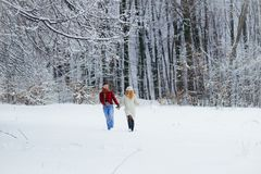 Vista integrale delle coppie amorose adorabili che si tengono per mano e che corrono felicemente lungo la foresta nevosa Fotografia Stock Libera da Diritti