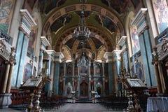 Vista interior da igreja ortodoxa Fotografia de Stock Royalty Free
