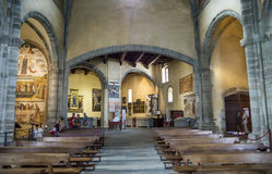 Vista interior de la abadía de di San Micaela-Santo Michael de los sacros Foto de archivo libre de regalías