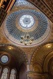 Vista interior de la bóveda de la sinagoga española de Praga foto de archivo