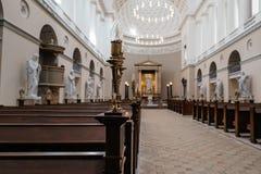 Vista interior de la iglesia de nuestra señora, la catedral de Copenh imagen de archivo libre de regalías