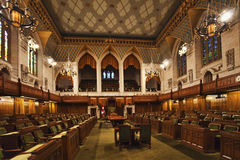 Vista interior de los campos comunes de Canadá del parlamento, Ottawa imagen de archivo