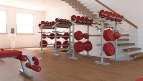 Vista interior de um gym Imagem de Stock Royalty Free