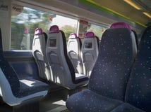 Vista interior de um trem de C2C fotografia de stock royalty free