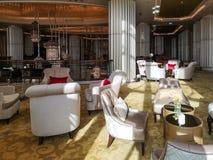 Vista interior de un hotel lujoso, l?mpara ligera moderna en el pasillo fotos de archivo libres de regalías