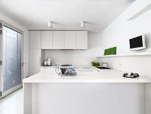 Vista interior de una cocina moderna blanca fotografía de archivo