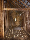 Vista interior del granero de banco Fotografía de archivo