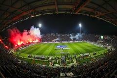 Vista interior del lleno en el estadio de Toumba, Griego Superleague m Imagen de archivo