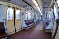 Vista interior del tren de carromatos en subterráneo Fotografía de archivo libre de regalías