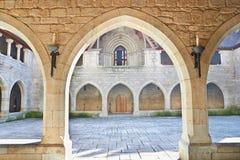 Vista interior do palácio de Duques de Braganca, Guimaraes, Portug imagem de stock