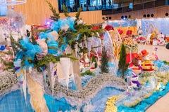 Vista interior do pavilh?o da flor do mundo Flora Exposition de Taichung foto de stock royalty free