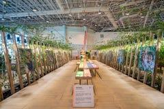 Vista interior do pavilh?o das b?n??os da colheita do mundo Flora Exposition de Taichung foto de stock royalty free