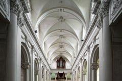 Vista interior hermosa de la iglesia de la abadía en Floreffe Fotos de archivo