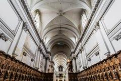 Vista interior hermosa de la iglesia de la abadía en Floreffe Foto de archivo libre de regalías
