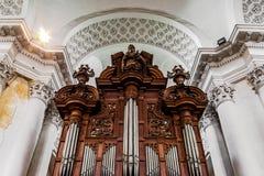 Vista interior hermosa de la iglesia de la abadía en Floreffe Fotografía de archivo libre de regalías